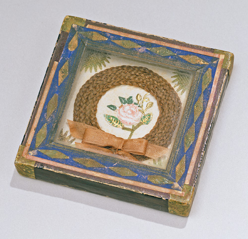 Miniature friendship token in shadow box frame, American, Probably New England, circa 1840-1860