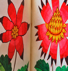 Pair of small floral- illustrated books