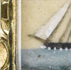 Brooch with miniature of sailing vessel flying the American flag